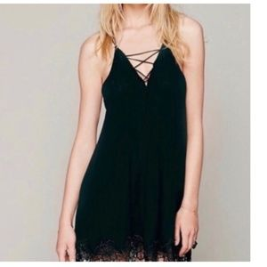 Free People V-neck Leaf Rose Lace Trim Slip Dress